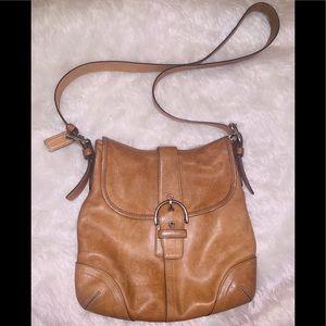 Tan brown leather coach crossbody bag purse